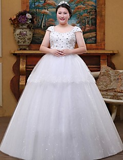 A-line Wedding Dress Floor-length Square Lace / Tulle with Crystal / Lace