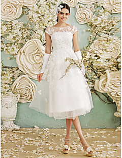 Lanting Bride® A-line Wedding Dress Tea-length Bateau Tulle with Appliques