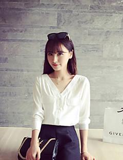 Langermet Skjorte V-hals Lomme Polyester Kvinner