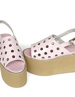 Handmade Punk Lolita Leather 8 Wedge Pink Lolita Shoes
