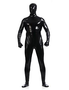 Unisex Shiny Zentai Suits Spandex / Shiny Metallic Black Zentai