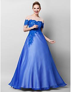 저녁 정장파티 드레스 - 로얄 블루 A-라인 바닥 길이 보트넥 쉬폰 / 레이스 / 명주그물