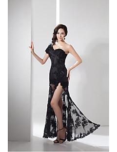 포멀 이브닝 드레스-블랙 시스/칼럼 바닥 길이 원 숄더 레이스 / 태피터
