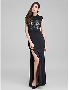 TS Couture® Formal Evening Dress - Black Trumpet/Mermaid High Neck Ankle-length Lace / Jersey