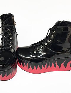Handmade Custom New Platform Shoes Thick Soled Boots Flame 7Cm Heels