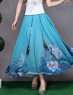 Kvinders Hverdag Maxi Nederdele Uelastisk Polyester
