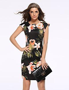Kvinders Vintage / Street Casual/hverdag / Plusstørrelser Skede Kjole Blomstret,Rund hals Over knæet Kortærmet Sort Polyester Forår