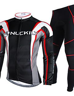 Nuckily חולצה וטייץ לרכיבה לגברים שרוול ארוך אופניים עמיד למים שמור על חום הגוף מוגן מגשם רצועות מחזירי אור חולצה+מכנס מדים בסטיםקטיפה