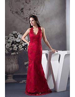 Formal Evening Dress-Ruby Trumpet/Mermaid Halter Floor-length Lace / Satin