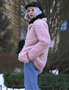 Rund hals Langærmet Medium Dame Rød Sort Grå Ensfarvet Vinter Frakke,Imiteret pels