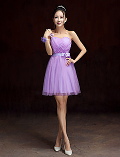 Knee-length Satin / Tulle Bridesmaid Dress A-line One Shoulder with Flower(s) / Criss Cross