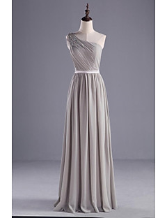 Floor-length Chiffon / Charmeuse Bridesmaid Dress A-line One Shoulder with Beading / Sash / Ribbon / Side Draping