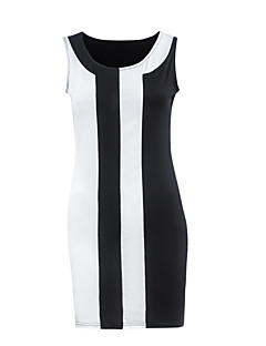 Women's S-5XL Simple / Street chic Striped Plus Size / A Line / Loose Dress,Round Neck Above Knee