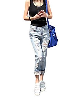 Mulheres Calças Plus Sizes / Casual Jeans Algodão Micro-Elástica Mulheres