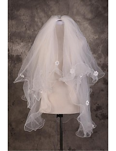 Wedding Veil Three-tier Elbow Veils Cut Edge / Pencil Edge Tulle Beige