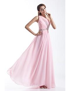 ビーズサイドドレープ付きフォーマルイブニングドレス