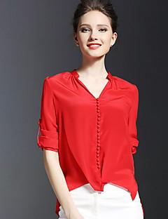 Mulheres Blusa Formal Vintage / Simples Verão,Sólido Vermelho / Verde Acrílico / Poliéster Decote V Manga Longa Opaca