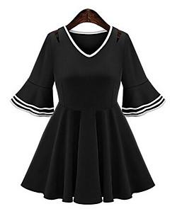 Enkel / Streetchic Plusstorlekar / Mantel Färgblock Klänning Kvinnors V-hals Mini Polyester