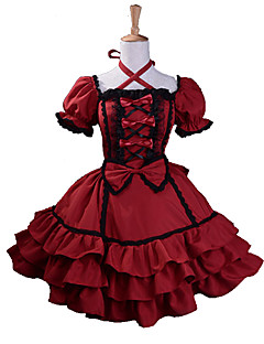 One-Piece/Dress Trim Gothic Lolita Lolita Cosplay Lolita Dress Red Patchwork Short Sleeve Knee-length Dress For Women Cotton / Terylene