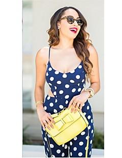 Women's Polka Dot Blue Jumpsuits,Sexy Strap Sleeveless