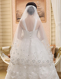 Wedding Veil One-tier Cathedral Veils Cut Edge / Lace Applique Edge Tulle Beige