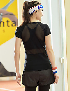 Löpning T-shirt / Överdelar Dam Kort ärm Snabb tork Tactel Yoga / Fitness / Racing / Löpning Sport Fotbollströjor Hög ElasisitetVår /