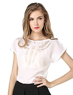 Women's Casual/Daily Simple Cute Spring Summer Blouse,Solid Round Neck Short Sleeve Blue Pink Red White Beige Black Green Yellow Polyester