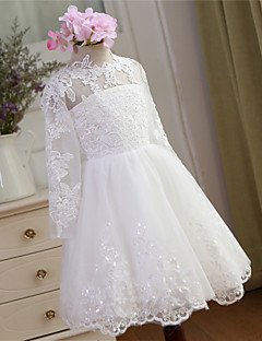 Ball Gown Knee-length Flower Girl Dress - Lace / Tulle Long Sleeve Jewel with