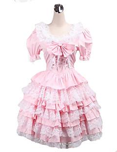 שמלה לוליטה המתוקה כותנה הוורודה קצרה שרוול קצר