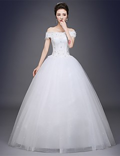 Ball Gown Wedding Dress Floor-length Off-the-shoulder Satin / Tulle with Appliques