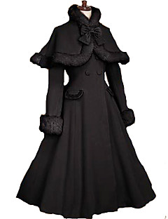 Coat Gothic Lolita/Classic Lolita  Princess Cosplay Lolita Dress Black Solid Long Sleeve Lolita Coat For Women Velvet Lolita Coat With Bow