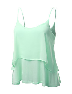 Women's Beach Sexy Summer Tanks,Solid Strap Sleeveless Pink / White / Black / Green Polyester Thin