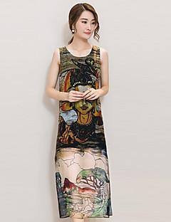 Sukienka Obuwie damskie Vintage / Moda miejska Shift / Szyfon Nadruk Midi Okrągły dekolt Poliester
