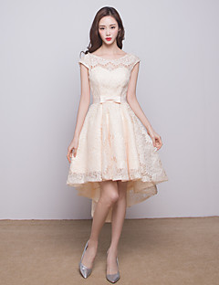 Asymmetrical Lace Bridesmaid Dress A-line Scoop with Bow(s)