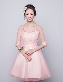 Short / Mini Tulle Bridesmaid Dress A-line Jewel with Lace