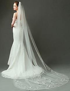 Πέπλα Γάμου Δύο-βαθμίδων Πέπλα ως τον αγκώνα / Μακριά Πέπλα Χωρίς τελείωμα Τούλι Ιβουάρ Ιβουάρ