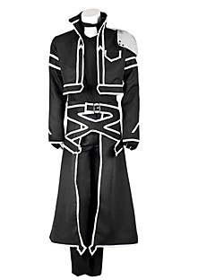 Inspired by Sword Art Online Kirito Anime Cosplay Costumes Cosplay Suits Solid Black Long Sleeve Coat / T-shirt / Pants / Gloves / Apron