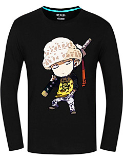 Inspirovaný One Piece Trafalgar Law Anime Cosplay kostýmy Cosplay Topy / Bottoms Tisk Czarny Dlouhé rukávy Vrchní deska