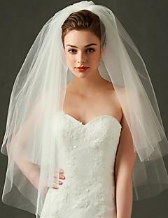 Véus de Noiva Duas Camadas Véu Cotovelo Corte da borda / Borda com Tira Tule Marfim