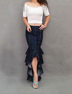 חצאית של הנשים האופנה הסקסית בתולת ים סימטרית ג'ינס מקסי