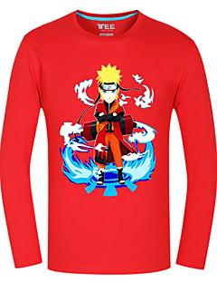 Вдохновлен Наруто Naruto Uzumaki Аниме Косплей костюмы Косплей вершины / дна С принтом Красный Длинные Кофты