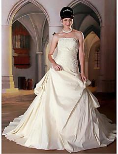 A-line Wedding Dress Court Train Strapless Taffeta with Appliques