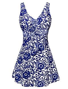Womens Fashion Stretch Fabric Froral One Piece Swimdress(3XL-5XL)