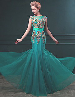 Formal Evening Dress Trumpet/Mermaid Bateau Floor-length Tulle