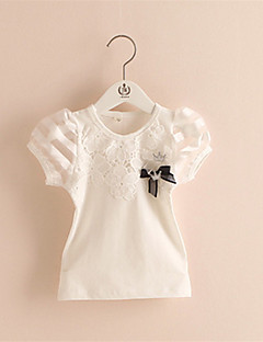 Baby Girls Short Sleeve Tee Shirts Ruffle White Pink Lace Embroidered Tops T-shirts