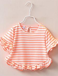 Jentas Fritid/hverdag T-skjorte Stripet Bomull Sommer Grønn / Oransje / Rosa