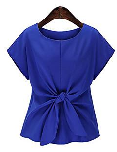 여성의 솔리드 라운드 넥 짧은 소매 블라우스,플러스 사이즈 캐쥬얼/데일리 블루 / 핑크 폴리에스테르 여름 중간