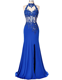 Formal Evening Dress-Royal Blue Trumpet/Mermaid High Neck Floor-length Lace / Satin