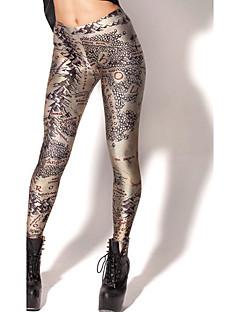 Damer Trykt mønster Tights,Polyester Normal