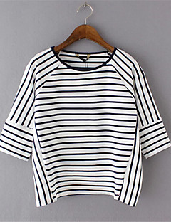 Randig Halvlång ärm T-shirt Kvinnors Rund hals Polyester